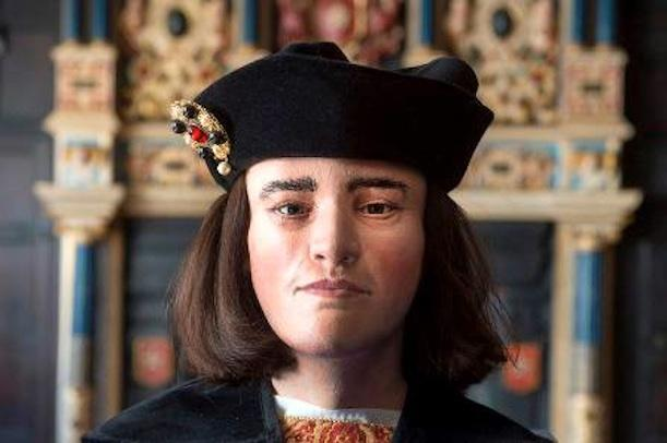 A facial reconstruction of King Richard III based on his skull and other forensic details.
