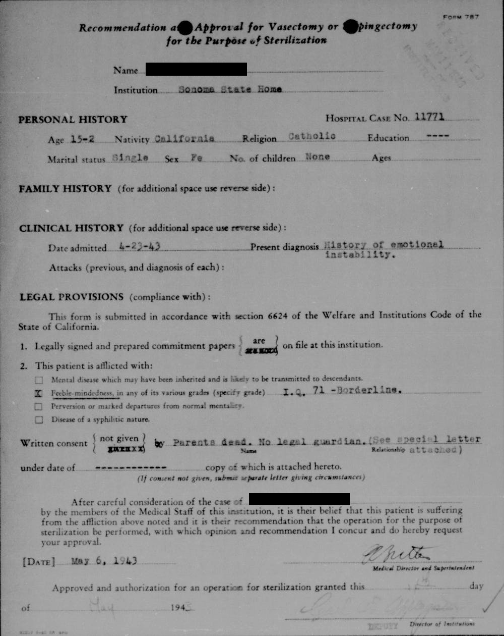 A sample sterilization form for a 15-year-old woman in California