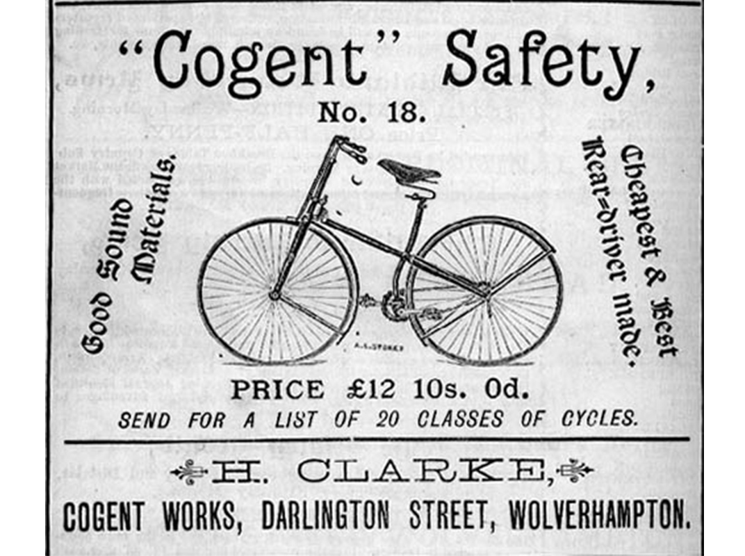 Advertisement for a Cogent Safety Bicycle, Barkers Wolverhampton Trade Directory, 1887