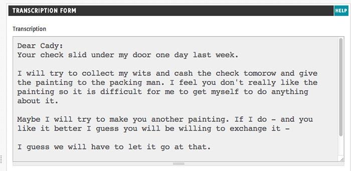 Georgia O'Keeffe Letter Transcript