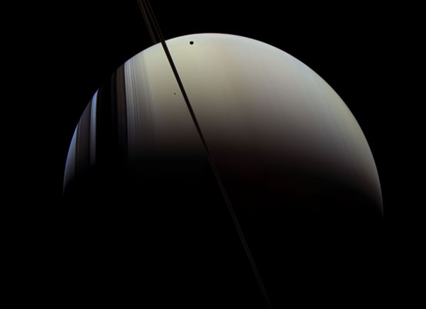 Saturn, Mimas and Tethys