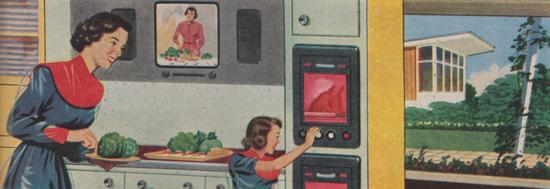 The housewife of 2000 receives cooking instruction by TV