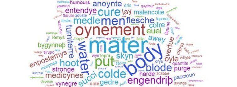 Word cloud from the Lylye of Medicynes.