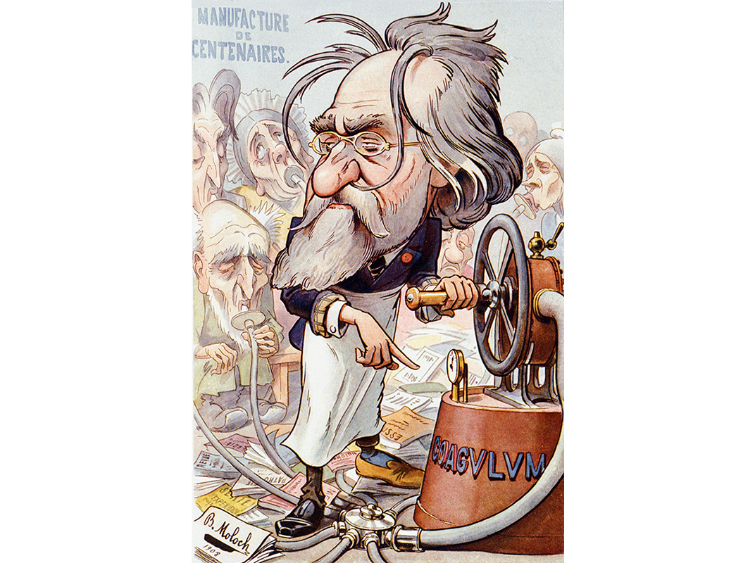 A 1908 caricature of Metchnikoff