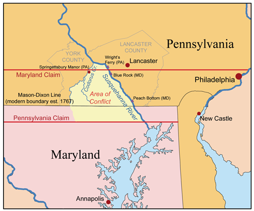 This Long Violent Border Dispute Between Colonial Maryland And: Map Of Maryland And Surrounding States At Codeve.org