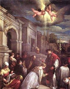 St. Valentine baptizing St. Lucilla
