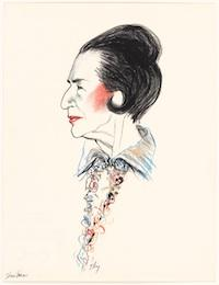 Diana Vreeland by Richard Ely Crayon, ink and gouache on paper 1989