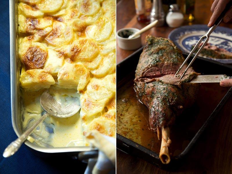 Potato Gratin, Roast Lamb
