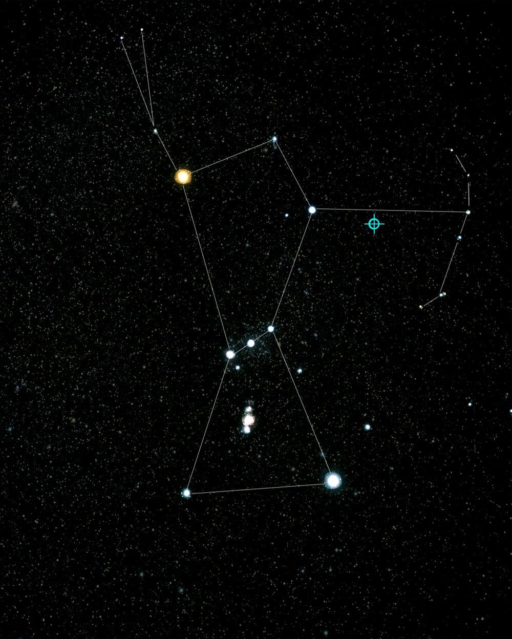 The constellation of Orion, with a bullseye on the location of the blazar.