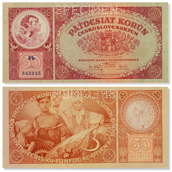 The front and back of the 50 korun note, designed by Mucha