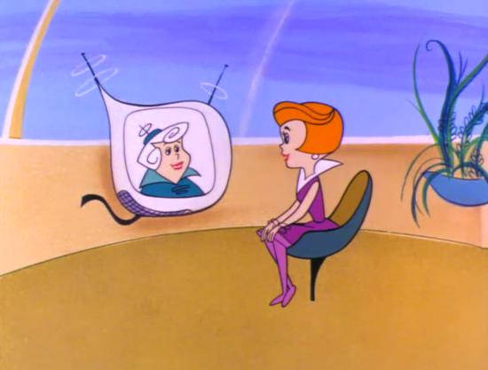 Jane Jetson talking to her mother over videophone in the first episode of The Jetsons (1962)