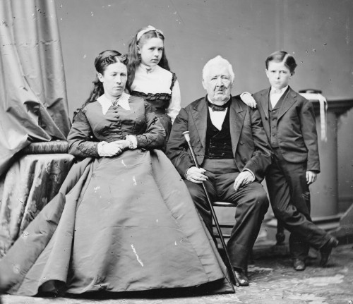 Julia Grant with daughter Nellie, father Frederick Dent, and son Jesse.