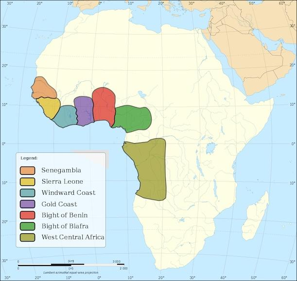 The regions of Africa most heavily raided for slaves