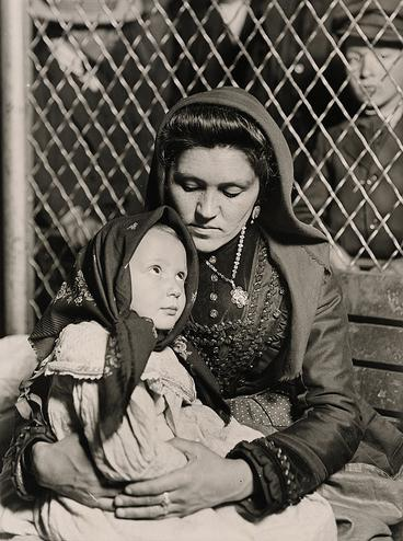 Italian mother and child after arriving in Ellis Island.