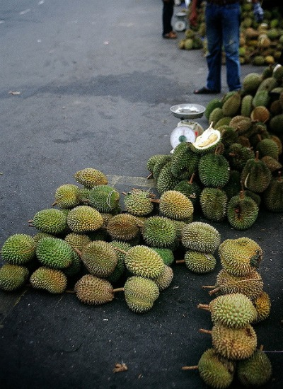 Stacks of durians occupy the streets of Malaysia during the harvest season each spring and summer.