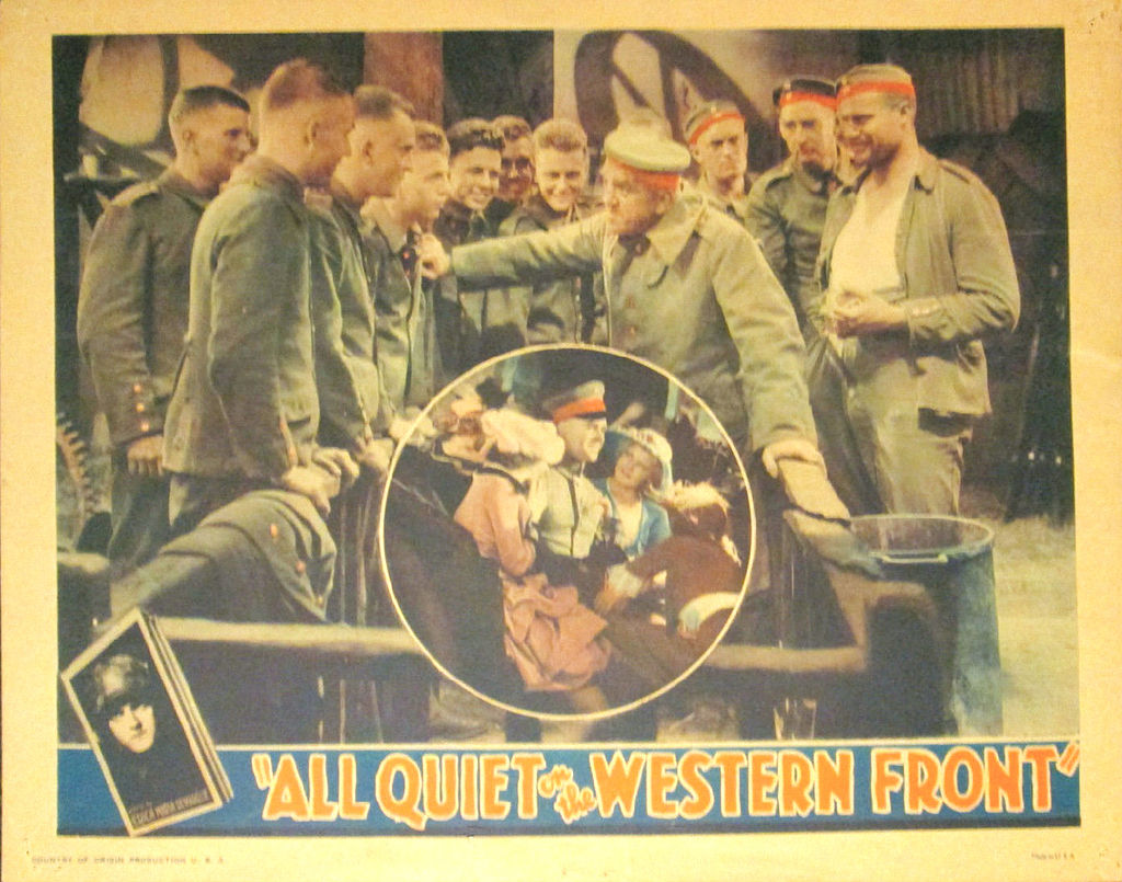 "this hollywood titan foresaw the horrors of nazi arts  ""all quiet on the western front"" lobby card"