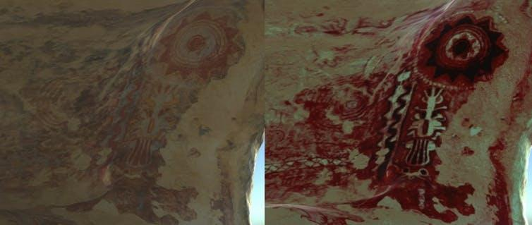 DStretch textures help reveal hidden detail in the cave artwork.