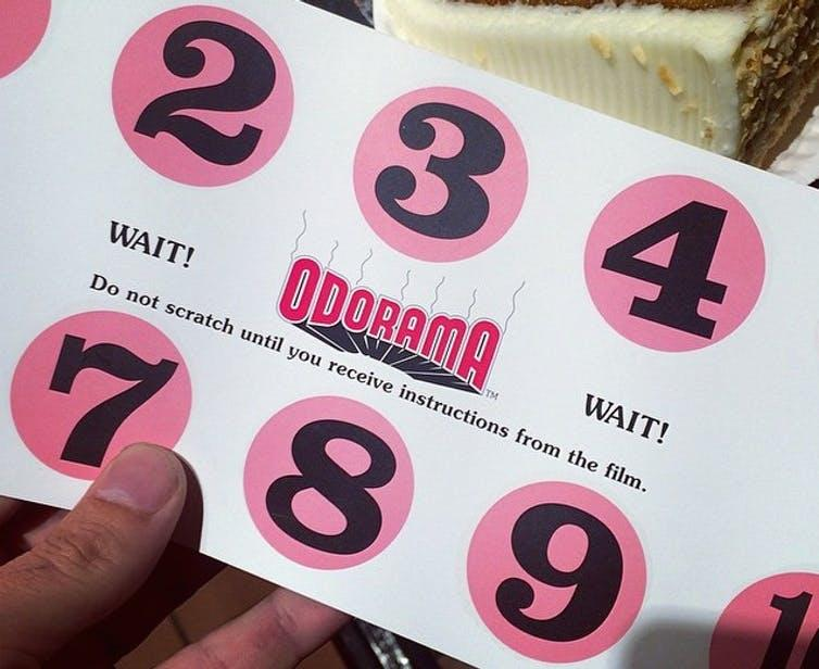 The 'Odorama' scratch-and-sniff card