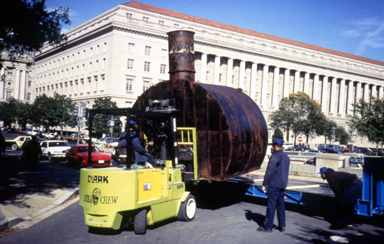 The shelter was delivered at the museum