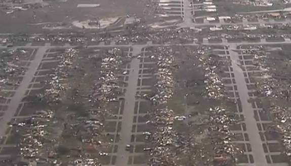 A screencapture from KFOR's coverage shows the massive damage caused by the tornado.