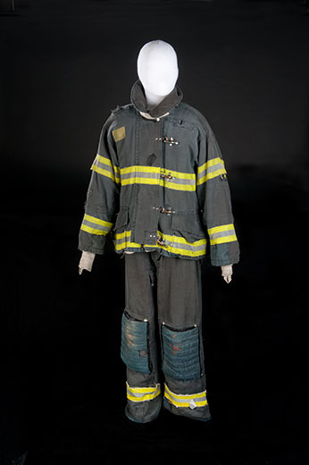 "Donated bunker gear worn by Leary in the show ""Rescue Me"""