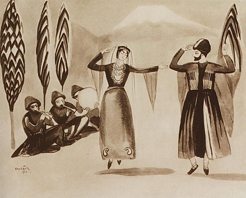 Portrait of traditional Armenian folk dancing amidst a mountainous backdrop