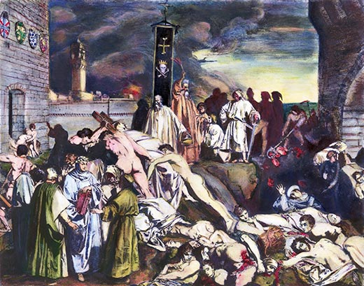 Giovanni Boccaccio depiction of the plague