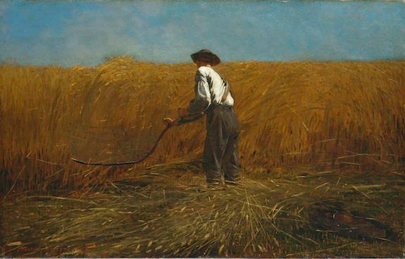 A veteran returns after war. Winslow Homer, The Veteran in a New Field, 1865.
