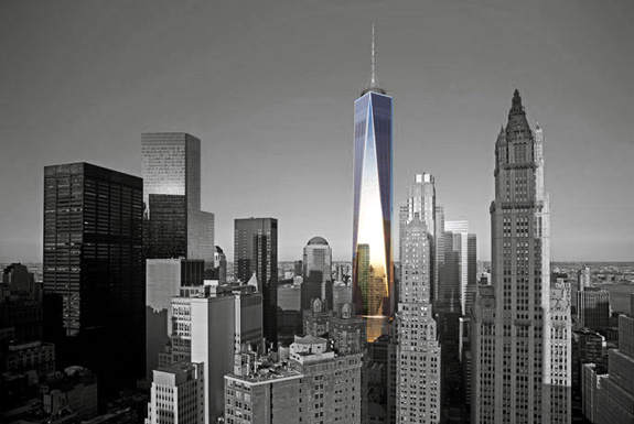 A rendering of the completed One World Trade Center