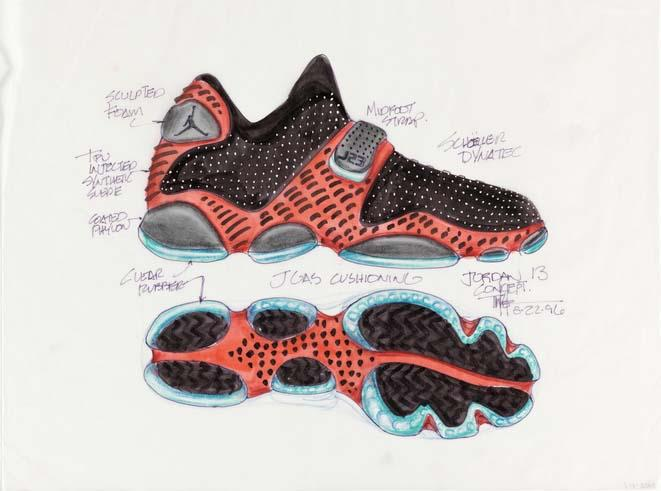 Concept design for Nike Air Jordan XIII by Tinker Hatfield, 1996