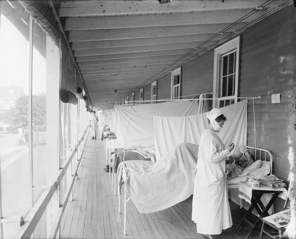 Patients receive care for the Spanish flu at Walter Reed Military Hospital, in Washington, D.C.