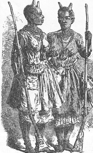 Female officers pictured in 1851, wearing symbolic horns of office on their heads.