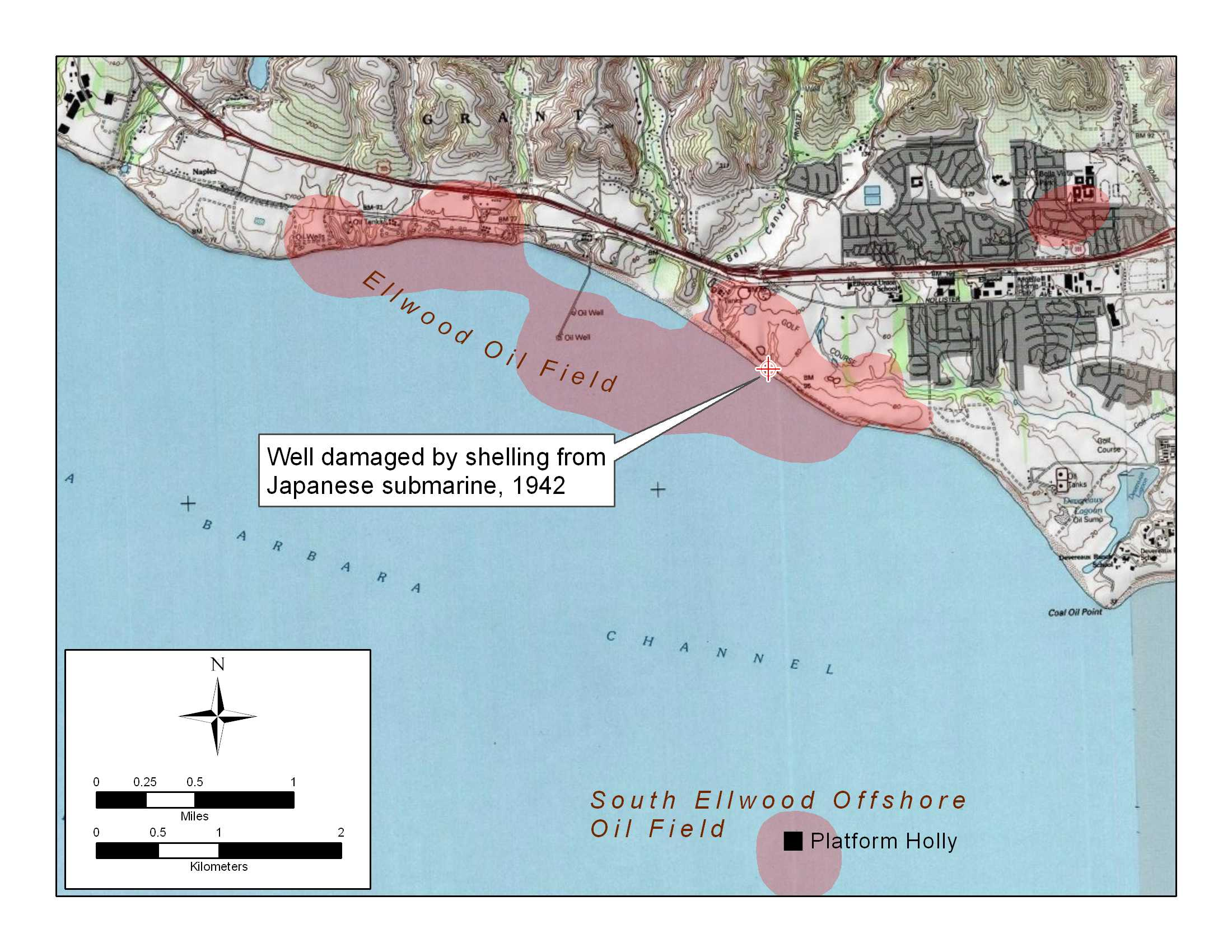 Detail map of Ellwood and Ellwood Offshore Oil Field