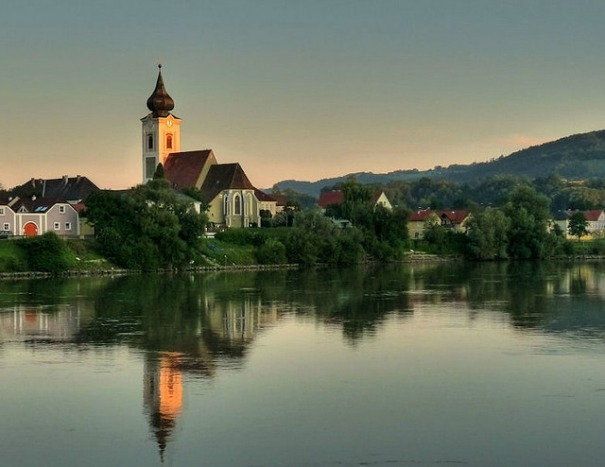 On the Danube above the town of Melk, Austria.