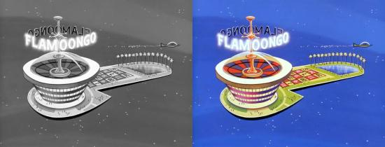 Black and white versus color comparison of the Jetsons