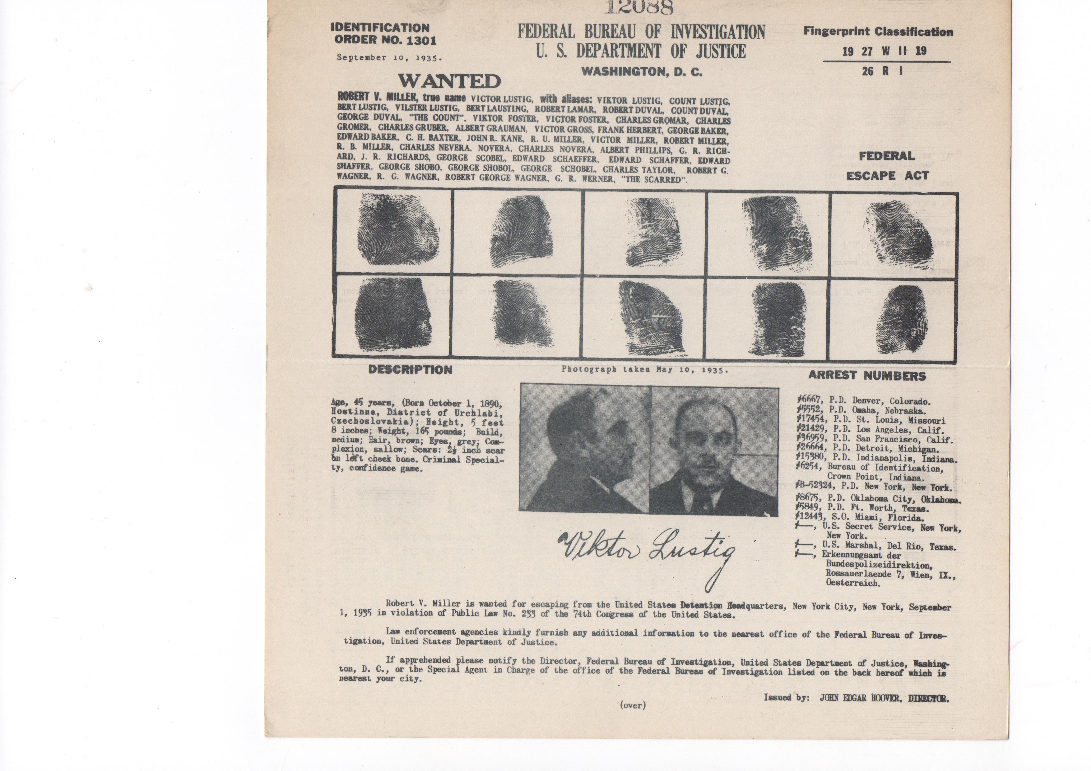 FBI fingerprints Lustig