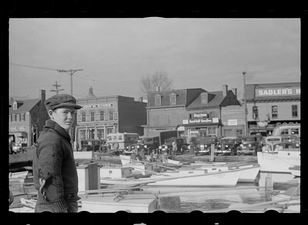 John Vachon, Untitled photo, possibly related to: Men at the wharves, Annapolis, Maryland