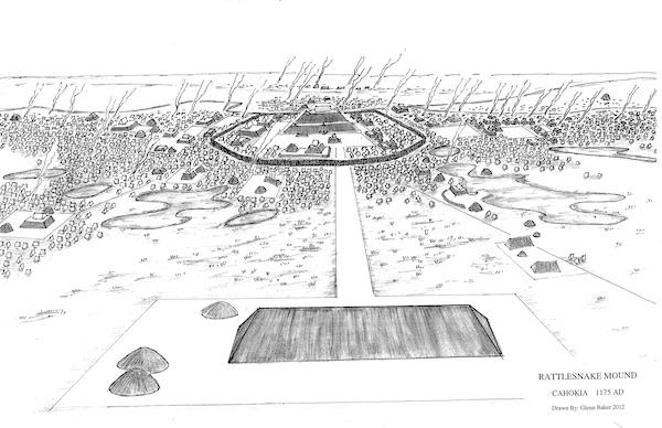View of Cahokia from Rattlesnake Mound ca 1175 A.D., drawn by Glen Baker