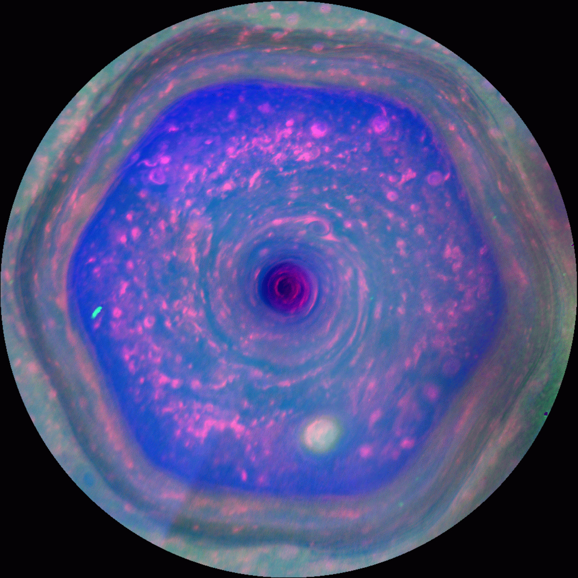 Saturn's six-sided vortex