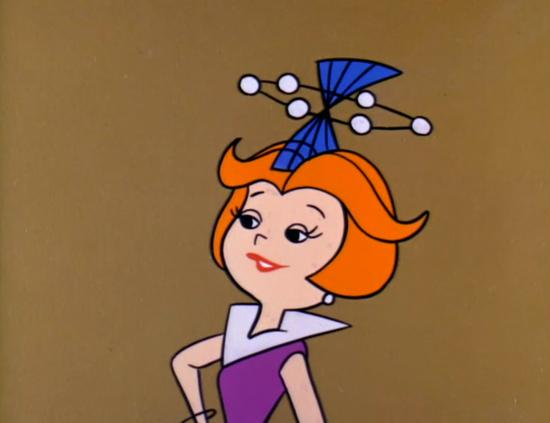 """Jane Jetsons shows off her new hat, which she calls """"Venus Off the Face"""" (1962)"""