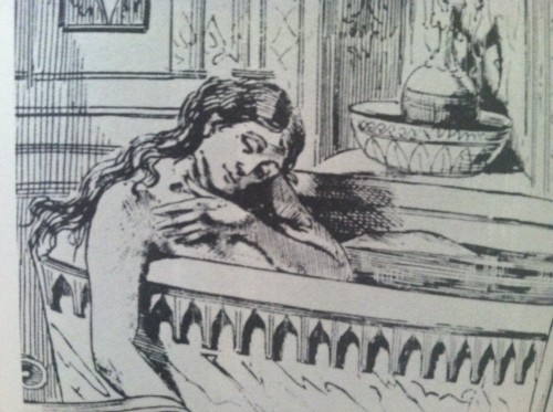 An artist's rendering of Restell's suicide, 1878