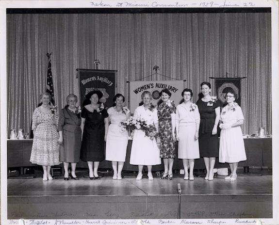 Board members of the Auxiliary presiding at the 1959 convention in Miami.