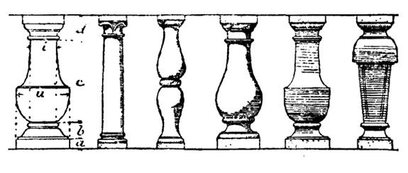 A drawing of typical balusters; possible inspiration for the Staunton Pawn