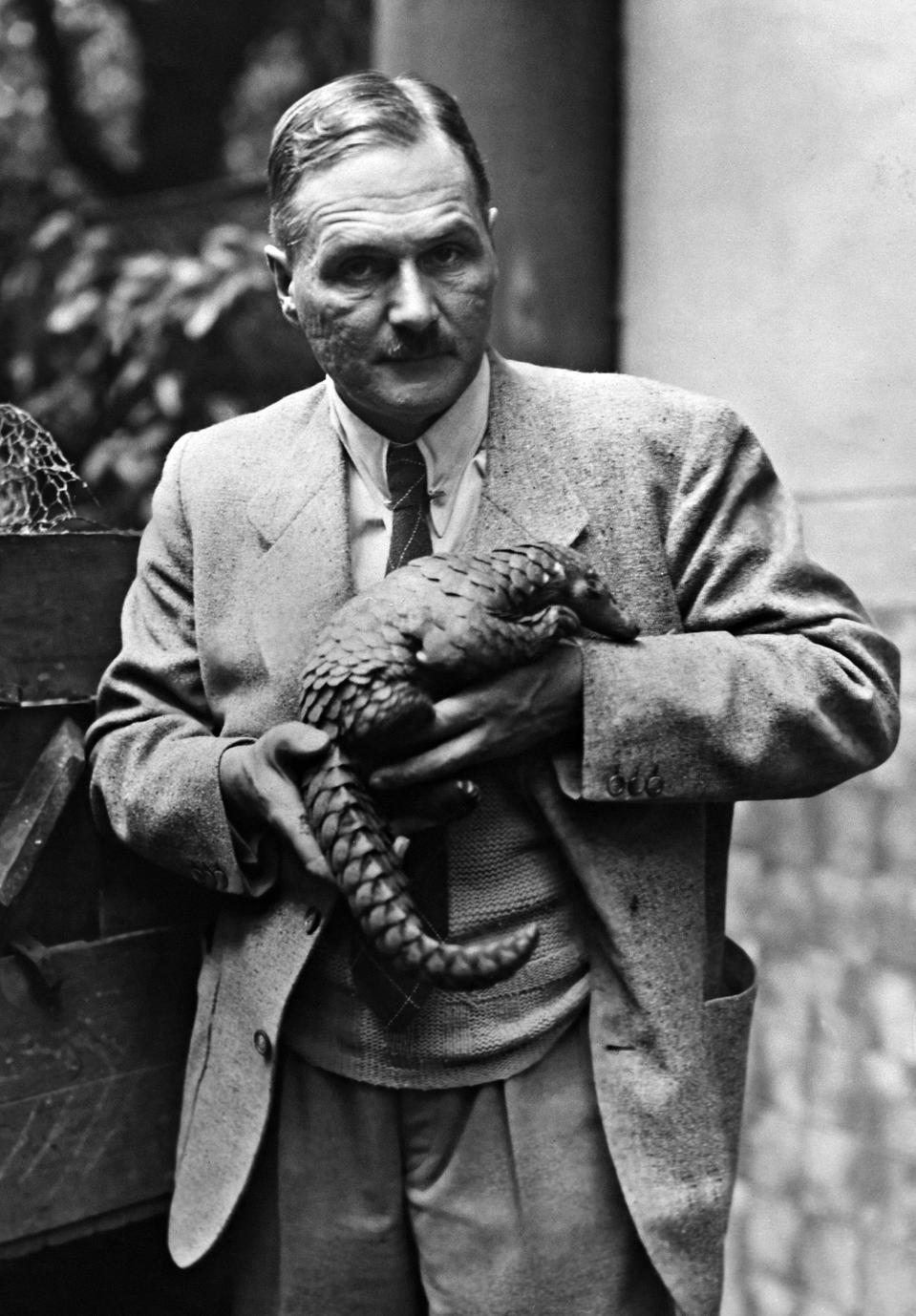 Lutz Heck with a scaly anteater, 1940