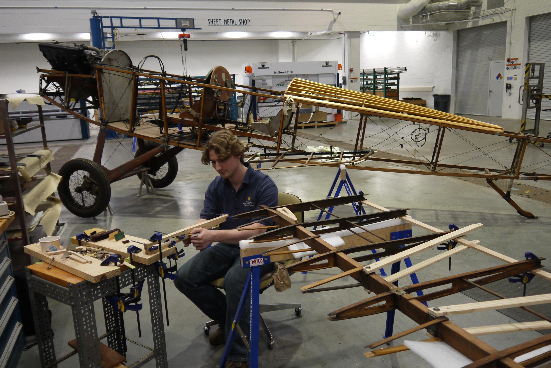 Reddersen, working on the Lincoln-Standard wings