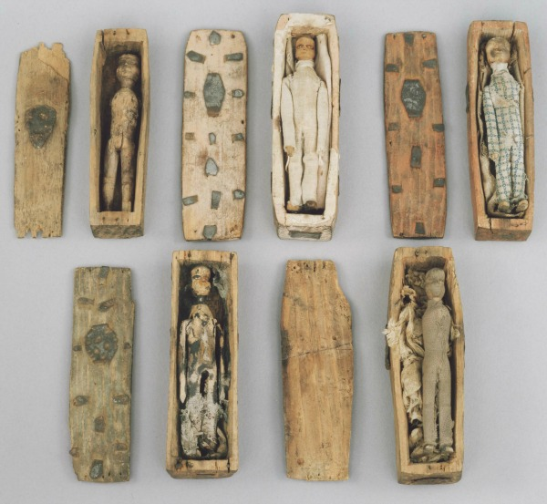 Five of the eight surviving coffins