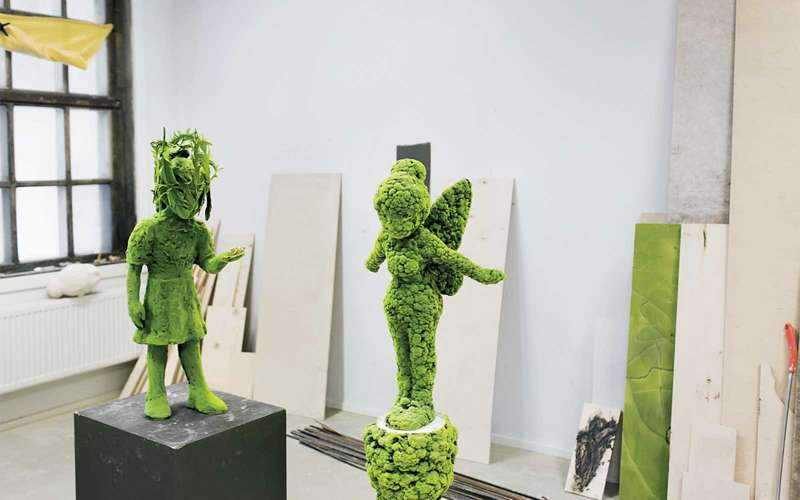 Mossy ceramic sculptures by artist Kim Simonsson.