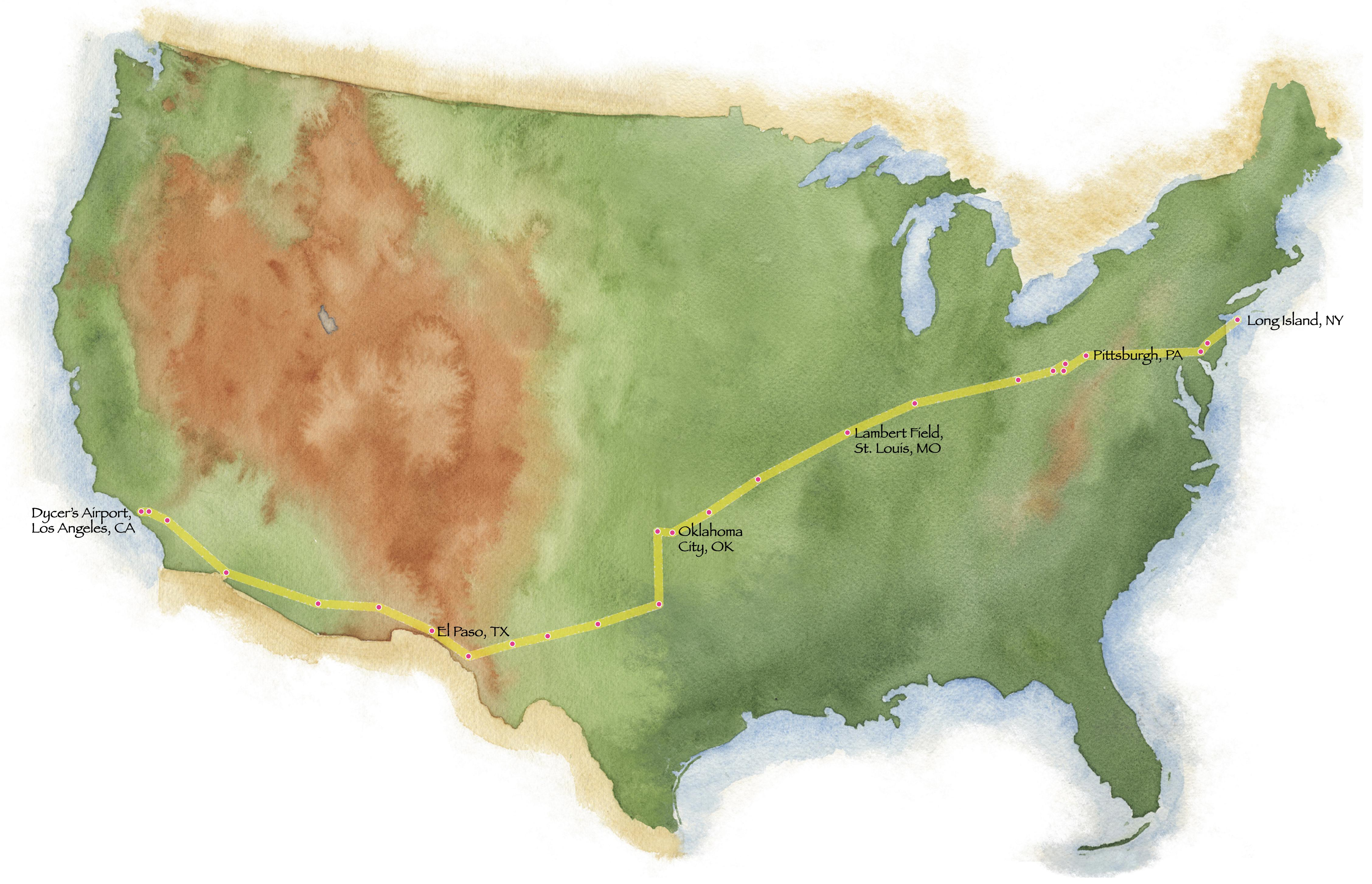 Planned route for coast-to-coast flight