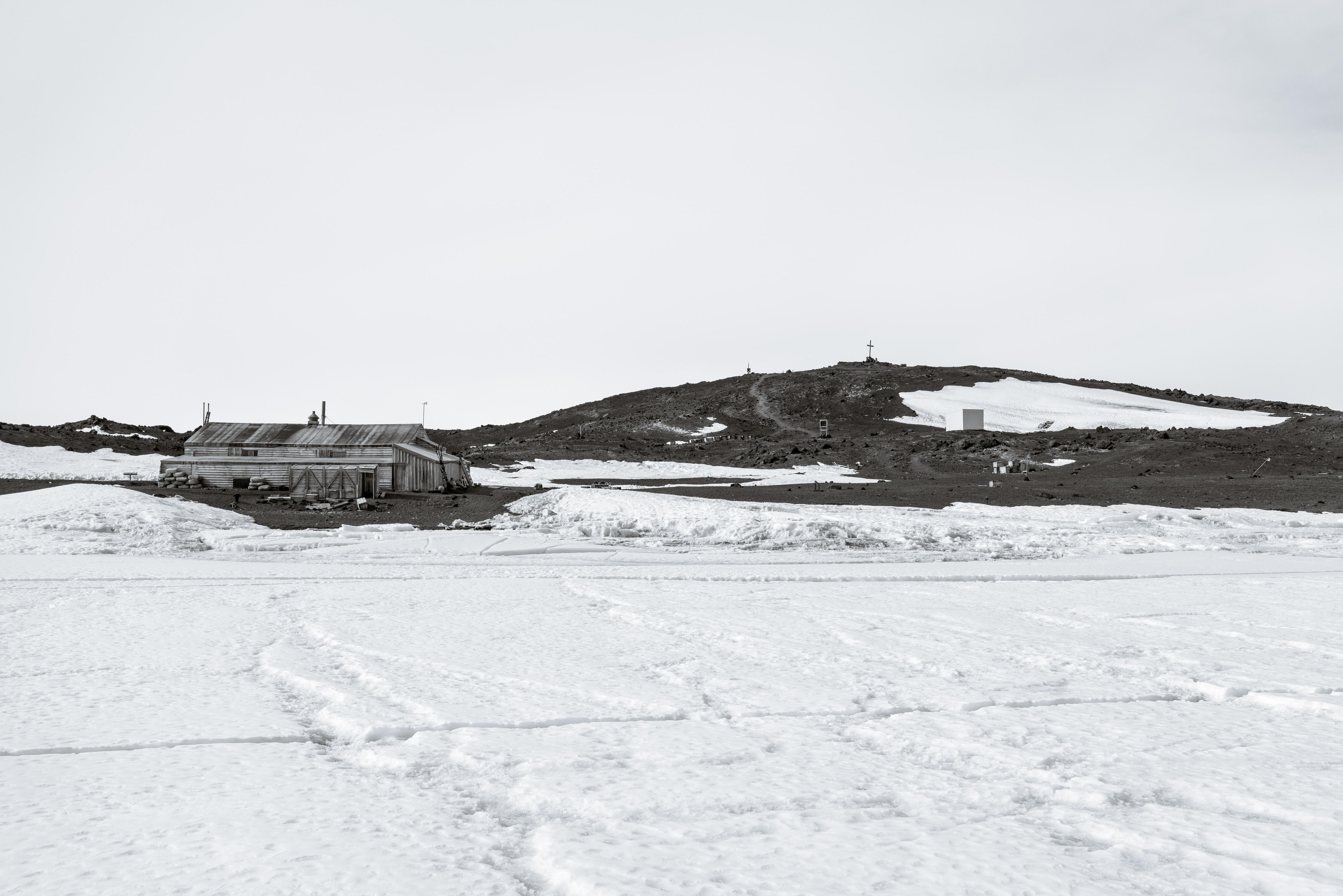 A view of the hut from the sea ice just offshore at Home Beach.