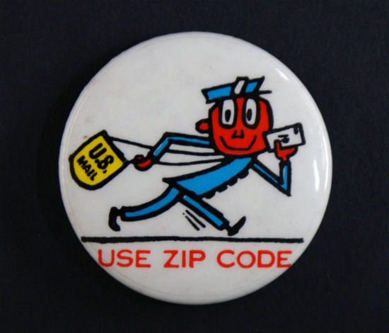 A Mr. Zip button, worn by postal workers as part of the ZIP Code campaign.